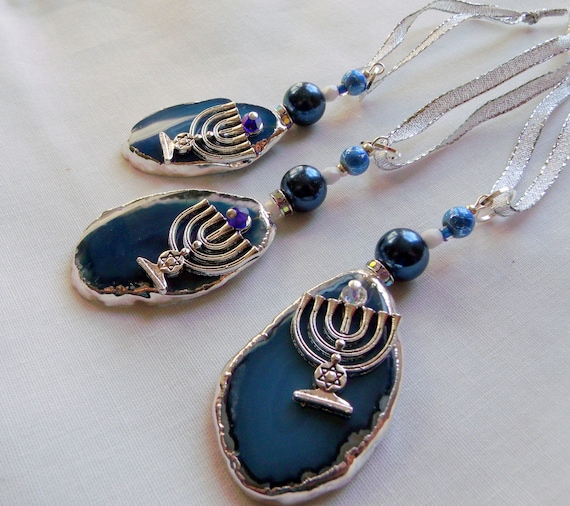 set of 3 Hanukkah ornaments - silver plated agates - pendant stone - Jewish holiday gifts - blue pearl bead - judaica - home decor - Menorah
