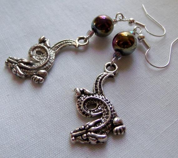 Dragon earrings  - purple crystal earrings - gaming gift  - silver charm earrings - mystical earrings - Chinese dragon charm - Lizporiginals