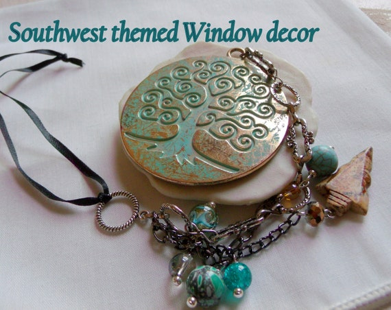 Southwest decor ideas - Tree of life pendant - window ornament - verdigris gold charm - patio - sun catcher - green patina - arrowhead