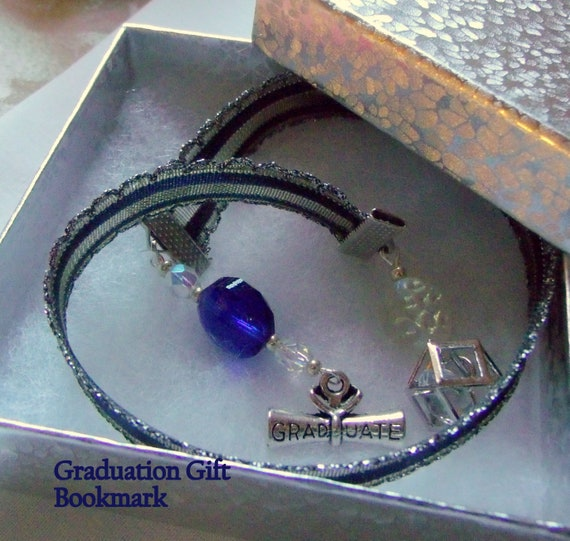 Diploma Graduation gift -  blue scroll charm bookmark - Gift for Grads  - Ribbon  -  Young  Men gifts - end of school -  Graduate