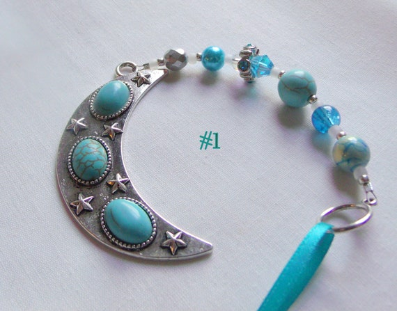 Silver Moon ornament - southwestern window decor - turquoise celestial gift - large aqua moon charm - crescent - Heart and sun charm