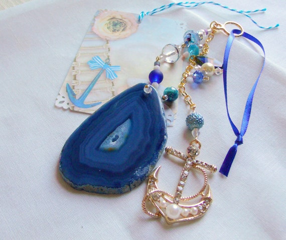 Anchor gemstone pendant - voyage gift - yacht club - blue aqua beaded  wall accent - rhinestone anchor charm - safe sailing - regatta prize