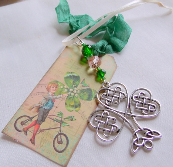 Set of 3 Irish charm ornaments - St Patrick's day gift - good luck charms - green filigree shamrock  - sun - sweetheart -  Boston Irish