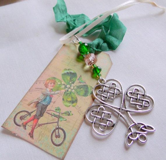 Set of 3 Irish charm ornaments - St Patrick's day gift - good luck charms - green filigree shamrock  - sun - sweetheart -  Boston Irish