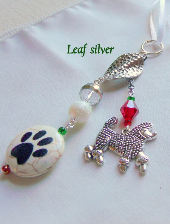 Paw bead poodle ornament - car charm - crystal Christmas tree decor - window ornament - show poodle charm - red tree hanger - Lizporiginals