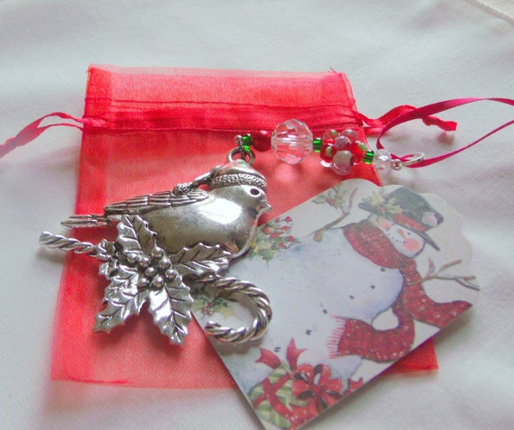 Robin Christmas ornament - red beaded bird decor - stocking stuffer - Secret Santa - silver bird charm - cottage tree hanger - farmhouse