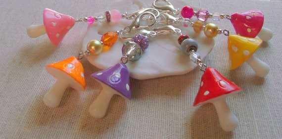 Bright colorful mushroom zipper pulls -  fairy garden - notebook charm - Fliegenpilz - Easter basket gift - Woodland -  Teen bag charm -