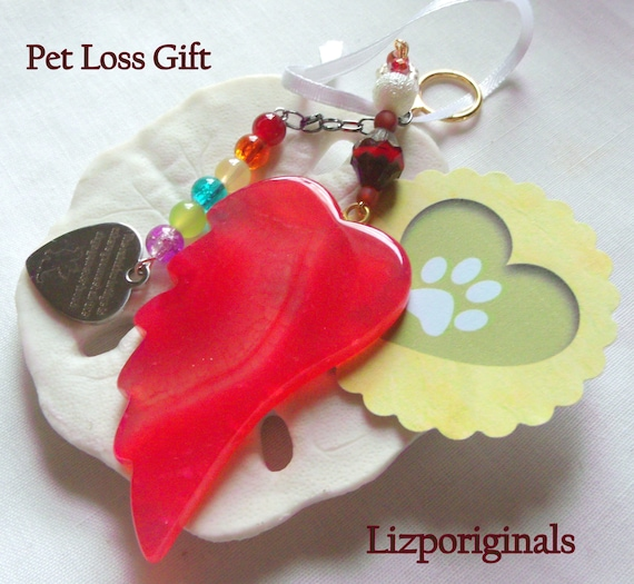 Pet loss gift - red angel wing - agate pendant - Pet Sympathy gift - memento -  heart charm gift - rainbow bridge charm - reminder of pet