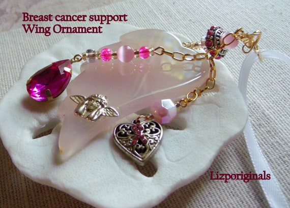 Breast cancer support gift - for the cure - cancer nurse thank you - agate wing ornament - pink ribbon home decoration - Oncology gift