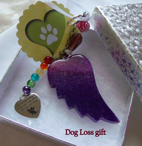 Pet loss gift - purple angel wing - agate pendant -  Sympathy gift - memento - fur baby - pink beads - loss of dog - gift box set