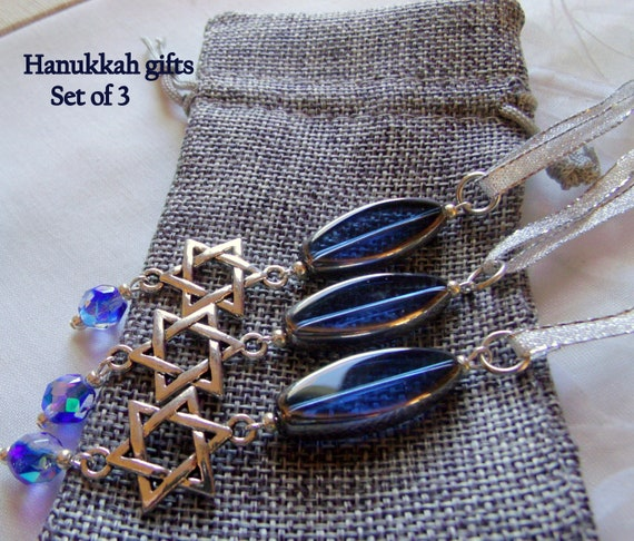 Hanukkah ornaments - small gift set - cobalt blue crystals - hanging home decor - star of David - set of 3 - Hostess token - Lizporiginals