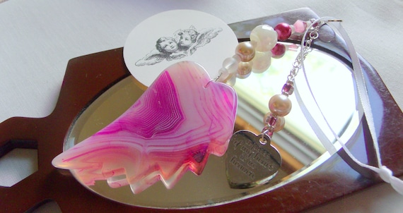 Grieving gift - loss of mom - loss of grandma - always in my heart - funeral memento - pink angel wing  - agate pendant gift - car charm
