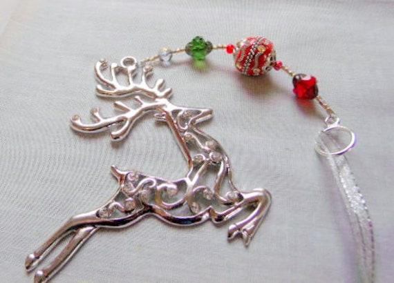 Sparkly reindeer ornament -  Christmas gift - secret Santa - large reindeer charm - red tree hangers - country home decor - holiday gift