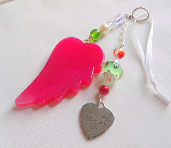 Therapy dog gift - for service dog - memory - support mental health - grieving gift - for dog loss - red wing car charm - cremation box