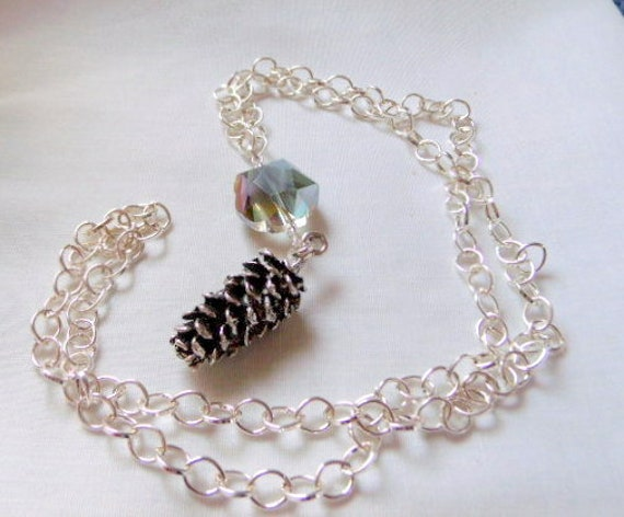 Pine cone charm necklace - long chain pendant wear - silver layering necklace - iridescent flower crystal bead - seasonal style - simplicity