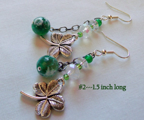 Shamrock earrings - green Irish inspired jewelry - St Patrick's day - clover earrings - good luck - Celtic knot - 4 choices - Kleeblatt gift