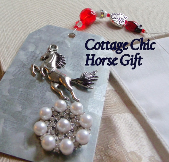 Southwest Horse ornament - metal gift tag - country cottage chic - wild horse charm - stallion - mustang holiday gift - Bronco  home decor
