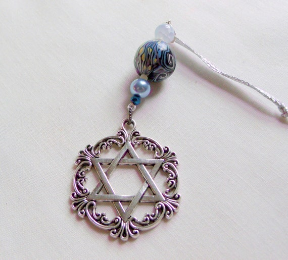 Blue Star of David car charm - jewish decorations - Hanukkah  - window ornament - Jewish car decor - artisan filigree charm - holiday gift