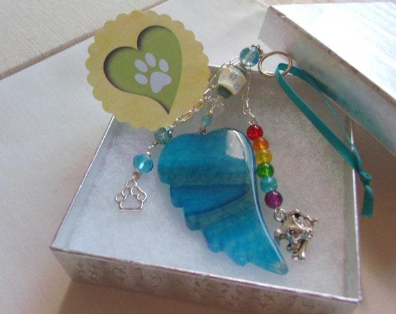 Pet loss gift - aqua angel wing - agate pendant - Sympathy gift - memento - dog memorial - rainbow bridge charm - cremation box - pet shrine