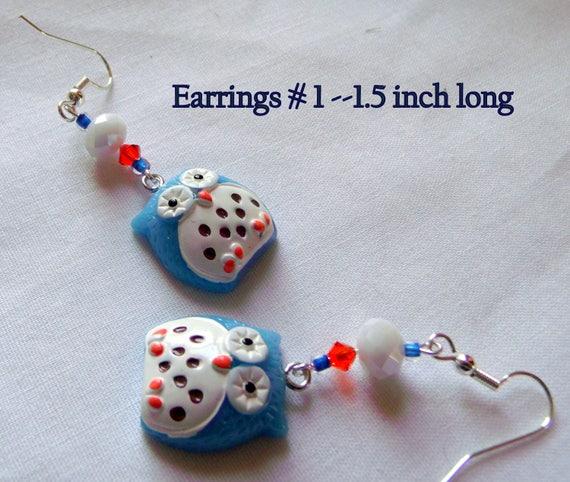 Aqua resin owl Earrings - blue bird  Keychain - owl zipper pull -  whimsical earrings -  back pack clip on for kids -  Gift set with owls