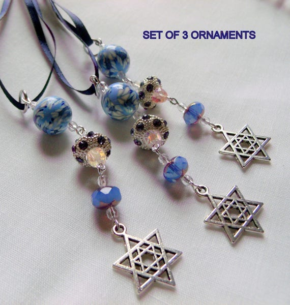 Star of David  charms - Passover hostess gift - crystals blue  - Hanukkah - dark blue ribbon - festive home decor - wine bottleneck accents