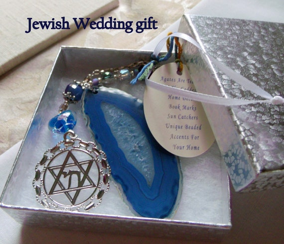Jewish wedding gift - wine bottle decor - Personalize - Judaic star of David charm - bottleneck ornament -  Chai symbol - window sun catcher