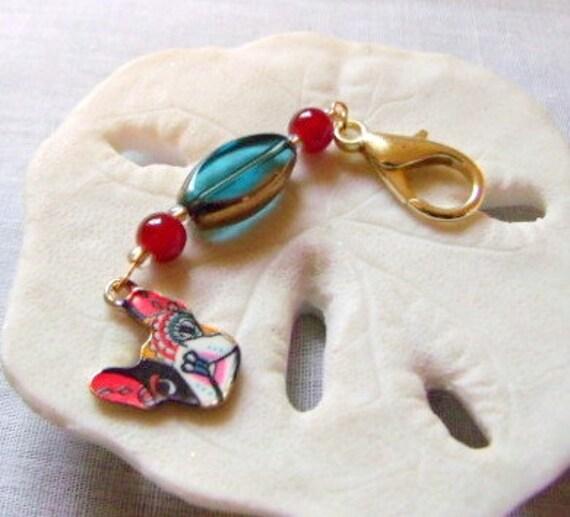 French bulldog zipper pull - bag charm - red bulldog  mom - walking club gift - key chain clip - dog carrier - enamel charm - dog journal