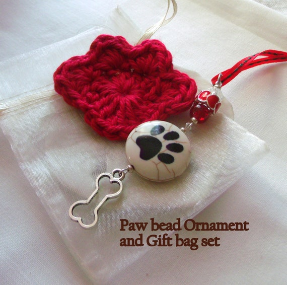Paw bead Christmas Ornament  gift set - puppy gift - crochet paw  gift bag - red heart paw tree decor - stocking stuffer - walking club gift