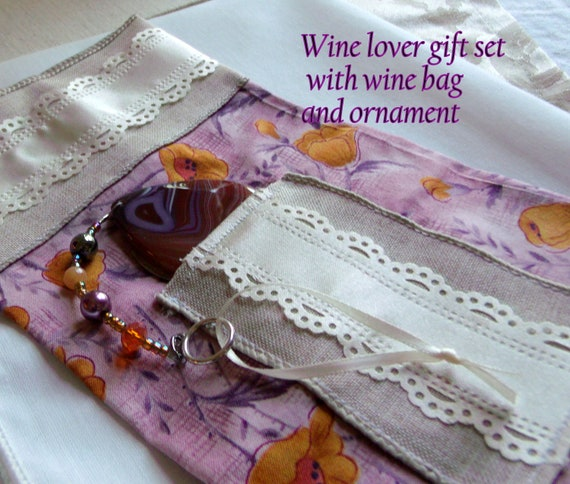 Wine lover gift set - bottle decor - red gem stone pendant - car charm - wine tasting party  - winery - Chinese coin - fabric gift wine bag