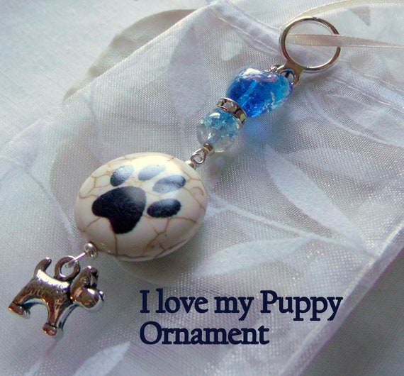 Dog Christmas ornaments - dog paw holiday gift - aqua heart beaded tree decor - small dog car window charm - cottage home - I love my puppy