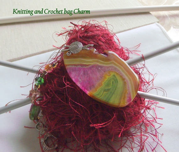 Gift for Knitters - yarn bag charm - crochet project clip - agate pendants - fire agate moon - knitting group  - choose your stone - club