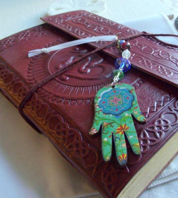 Colorful Wood Hamsa car charm - rear view mirror - spiritual Passover Gift - Exotic Hanging Hamsa - hand of Fatima - Journal /Yoga / Namaste