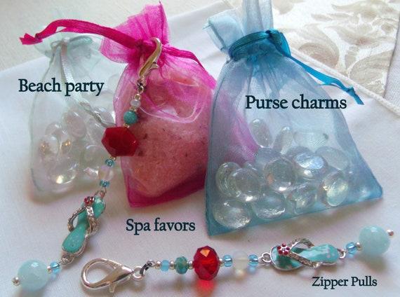 Flip flop charm zipper pull - aqua sandal charm - red spa gift - party favor -  hand bag charm  - girls night out - Beach wedding - gem clip