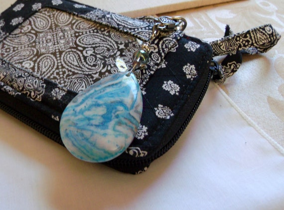 Crazy lace necklace - pendant jewelry - stone bag charm - unisex jewelry - stone pendants - teen gifts - gemstone bag clip - blue agate