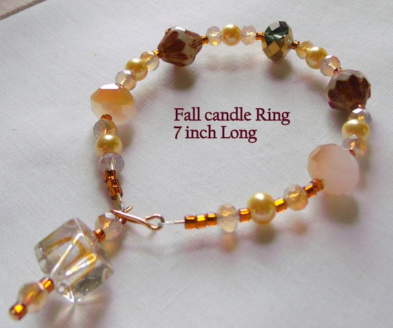 Fall candle ring - beaded candle wrap - fall candle decoration - warm beaded home decor - 7 inch candle ring - candle bling garland
