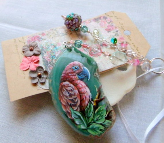 Unique parrot gem gift - sun catcher - exotic bird ornament - hand painted parrot decor - agate pendant - aqua window decor - pink parrot