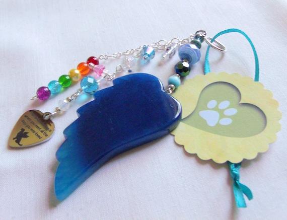 Dog sympathy gift - cremation niche decoration - deep aqua  angel wing - wing tassel charm -  memory  of dog - custom grave gift  - for car
