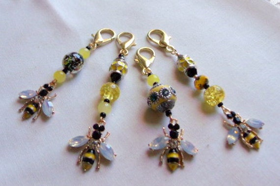 Bee zipper pull - glitz wasp charm - for Bee keepers - journal charm - honey - save the bee's - gardeners gift - yellow bee - bee friends