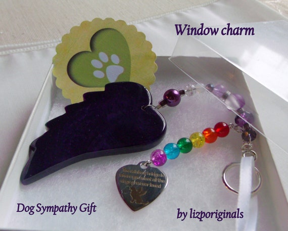 Pet loss gift - purple angel wing - agate pendant - Pet Sympathy gift - memento - Dog loss - memorial - cherish your dog - gift box set