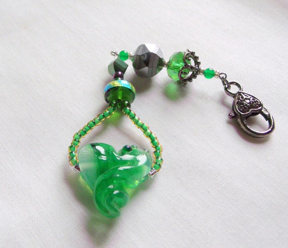 Hand made artisan green glass heart gift - zipper pull - journal charm - window ornament - car charm - St Patrick's day - Irish club gift