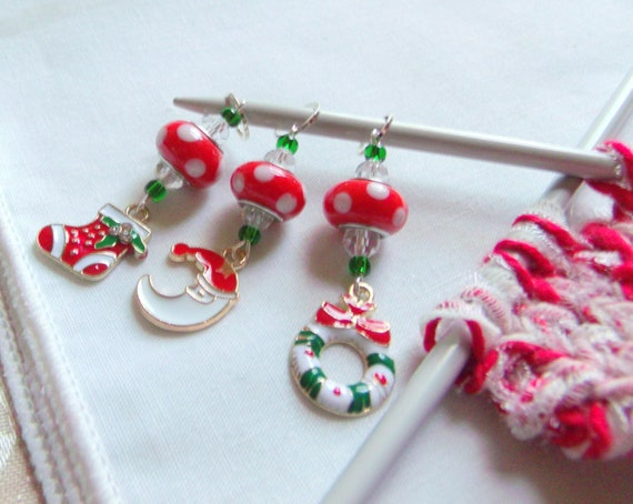 Christmas stitch markers - set of 3 - enamel charms - knitting gift for women - red beaded yarn accessory -  crochet -  wreath - Santa