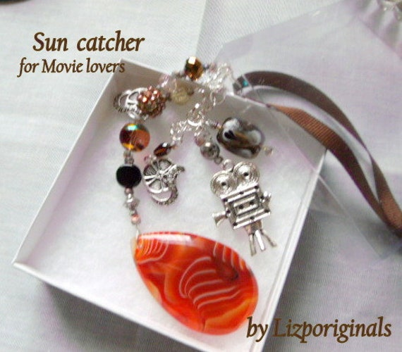 Cinema sun catcher - honey agate ornament - sundance  - film makers gift - movies - camera charm - film major - dorm window decor