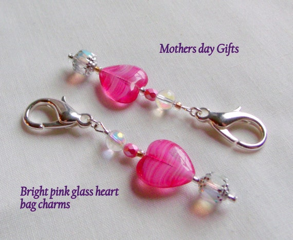 Gift for Mothers day - I love my Mom - heart zipper pull - pink glass heart - journal charm - bag clip - valentines gift - token of love