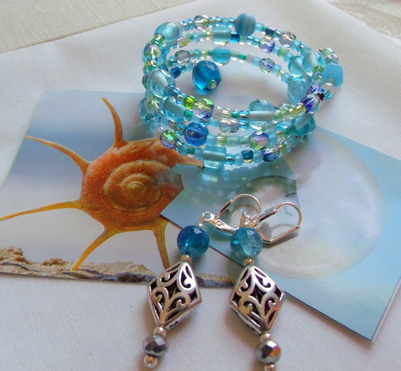 aqua earring bracelet gift set - glass jewelry - wrap bracelet -  for wife - handmade glass shell dish - silver earrings - beach vacation