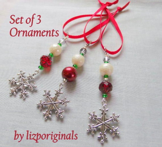 Set of 3 snowflake ornaments - red tree decor - secret Santa gift - small Christmas tree - office party - gift for grandma - holiday charms