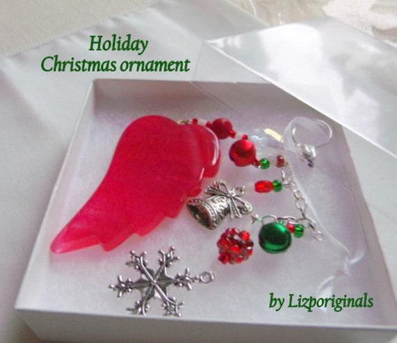 Red angel wing ornament - agate tree hanger - jingle bell charms - snowflake - gemstone gift - stocking stuffer - christmas - secret Santa