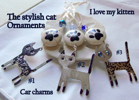 Stylish cat ornaments - glitz cat charm - cat paw -  tiger cat tree decorations - kitten charm - Car charm - I love cats Gift - Metallic cat