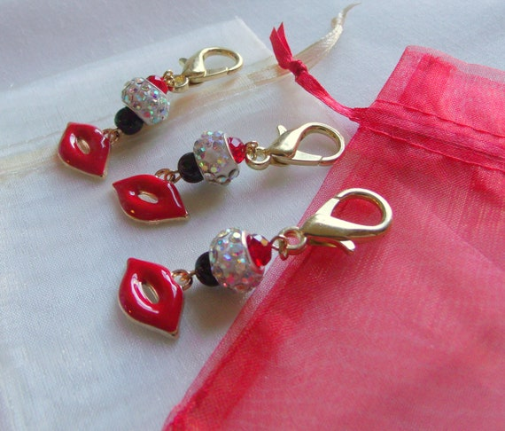 Red lips Bachelorette gifts - party favors - sexy red lips - wedding shower - bridal gifts - team bride - bag charms - candy bag clips