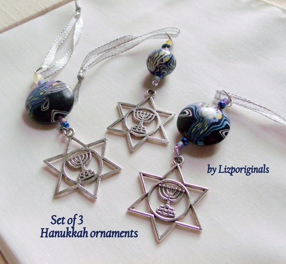 Menorah Ornament - star of David charm - blue Hanukkah gift - Jewish home decorations - party gift - Judaica - festive Hanukkah gift set
