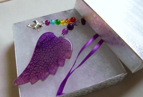 Pet loss gift - purple agate wing - dog sympathy - cherish your cat - angel  ornament - personalize pet loss - kitchen /window /car charm